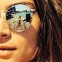 Óculos De Sol Modelo Ovalado Prata Lentes Espelhado Prata
