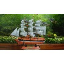Enfeite Decoração Barco Caravela Em Madeira E Tecido Lindo