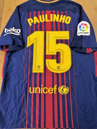 335cf3d74a665 Camisa Do Barcelona Paulinho De Jogo Autografada
