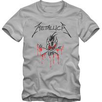 Metallica Camiseta Tradicional T-shirt Algodão 30.1 Silk