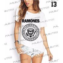T-shirt Camiseta Blusa Fashion Bandas Rock Ramones Feminina