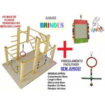 Kit Luxo Calopsita Feliz Playground Natural + Brinquedo