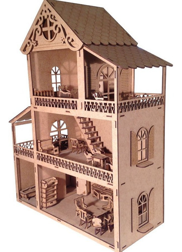 Casinha De Boneca Polly Lol Mdf + 43 Móveis