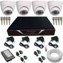 Kit 4 Câmeras Vigilância Gravador Acesso Imagem Internet