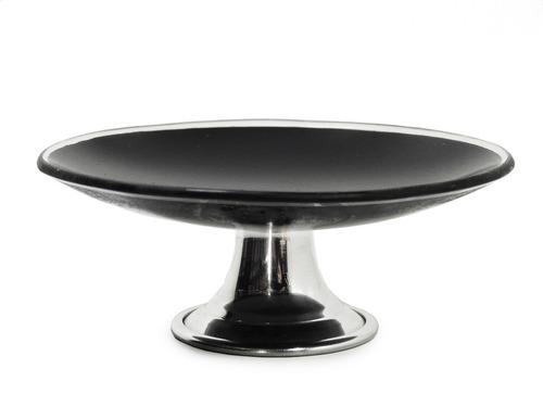 Bandeja de vidro redonda com suporte em metal preta r 18 - Bandeja metal ...