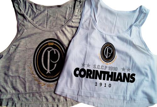 1ae3485660 Kit 2 Blusa Cropped Corinthians Feminina Sccp Camiseta