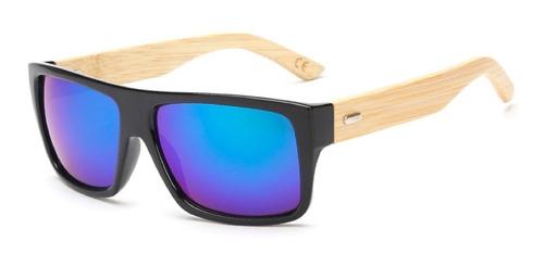732f8128e Óculos De Sol Reto Madeira Hastes Bambo Masculino Promoção