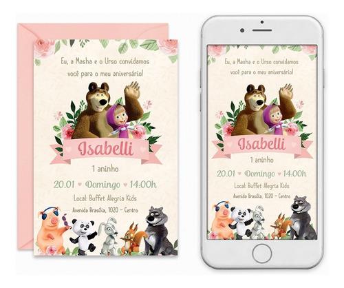 ab3feae49c Convite Digital Masha E O Urso Floral Virtual Imprimir. R$ 29
