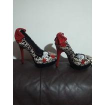 Sapato Scarpin Caveiras Número 35 Novo