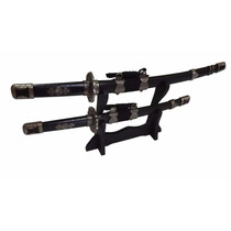 Conjunto 2 Espada Samurai Katana Ninja Decorativa C/ Suporte