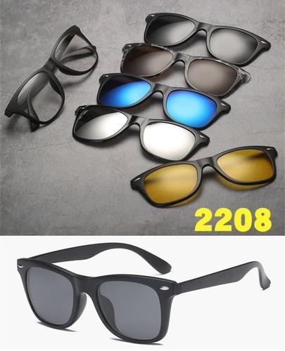 17dd4caf0c003 Armação Óculos Grau Clip On 6 Em 1 Polarizado Uv400 Mod 2208