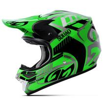 Capacete Motocross Pro Tork Squad Preto E Verde Trilha 58
