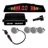 Sensor De Re Estacionamento Prata 4 Pontos Com Aviso Sonoro
