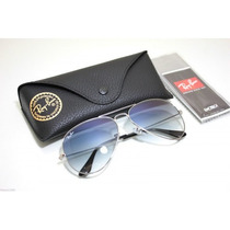 Óculos Ray-ban Original Aviador Rb3025 Prata Azul Degrade