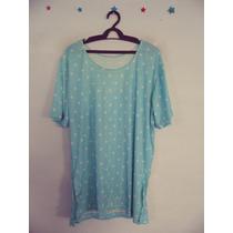Blusa Feminina Azul Estampada Manguinhas Cód. 93 A 95