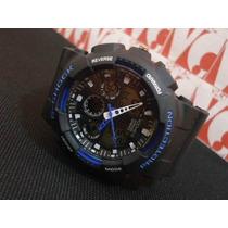 Relogio Atlantis G-shock Gshock Protection Azul Casio Ga100
