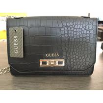 Bolsa Guess Original Couro Preta Corrente 24cm X 16cm