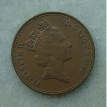 1596 Inglaterra 1989 Two Pence Elizabeth I I 26mm - Bronze
