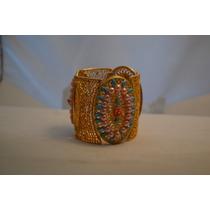 Bracelete--dourado-customizado Em Salmão E Azul Flores