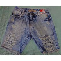 Bermuda Short Jeans Degrant Masculina Rasgada Sawary