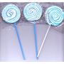 30 Pirulito Psicodélico Redondo Azul E Branco Para Festas