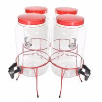 Suqueira Quadrupla Com 4 De 3 Litro Vermelha Melhorque Vidro