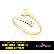 Anel Falange Espiral Coração Cristal Ouro Rommanel 511895