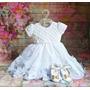 Roupa Para Batizado Menina Vestido Branco Sapato+faixa 2402 Original