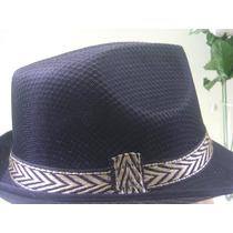 Chapéu Fedora Panamá - Cor Preta Fita Preta E Dourada