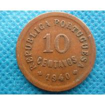 Moeda Antiga Portugal 10 Centavos 1940 Rara Bronze