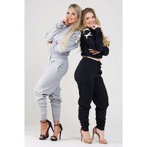 Conjunto De Moleton Despojado Calça E Blusa Ombro Trançado!