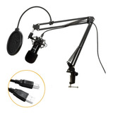Kit Microfone Bm800 Usb Condensador Estúdio Profissional