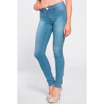 Calça Uze Jeans Feminino Detalhe Barra Com Zíper Azul Claro