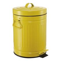 Lixeira Vintage Retro Amarela 5 Litros Ferro Cozinha Banho