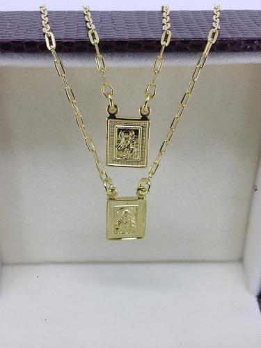 65487dd572347 Escapulario Folheado Ouro 18k N.s.do Carmo - S.coração Jesus