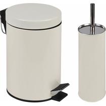 Kit Lixeira 3l C/ Pedal+ Escova P/ Vaso Sanitário Bege Mor