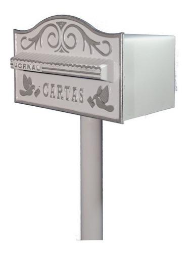 Caixa De Correio Americana Alumínio Fundido, Com Pedestral