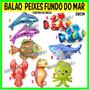 Balão Metalizado Peixes Golfinho Tubarão Fundo Do Mar