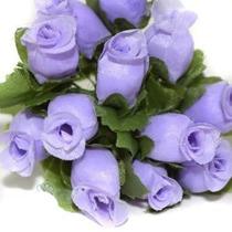 144 Mini Rosas Lilás - Flores Cetim Rosinhas Minirosas Roxos