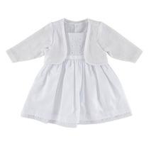 Vestido Para Batizado Branco Com Bolero - Tamanho P, M, G