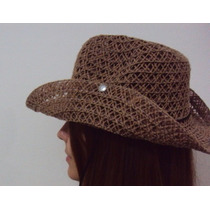 Chapéu Cowboy Feminino Cowgirl Rodeio Praia Palha Sintética