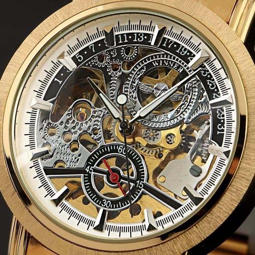 Relógio Masculino Pulso Ess Esqueleto Movim Mecânico Dourado