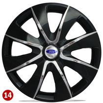 Jogo Calota Aro 14 Esport Black Chrome Ford Ka Fiesta Focus