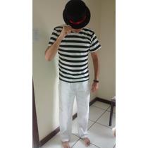 Camisa Listrada + Calça Branca + Chapéu. Malandro
