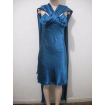 Vestido Festa Cetim Azul Curto Tam P Usado Ótimo Estado