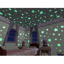 100pcs Estrelas Luminosas De Plastico Para Parede E Teto