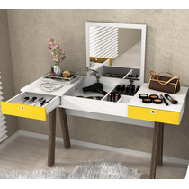 Penteadeira Escrivaninha Com Espelho Amarelo Branco Noce Te
