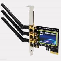 Placa Wifi 450mbps Wireless Pciex 3 Antenas 6db 2.4 E 5.8ghz