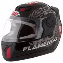 Capacete De Moto Time Flamento 58 Preto/vermelho