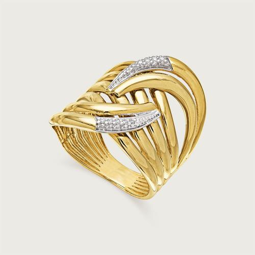 Anel Virgulas Em Ouro 18k ( 750 ) Com Diamantes